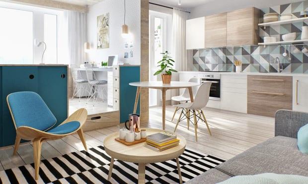 City Apartment Mit Küche Weiß, Kleinem Wohn Esszimmer Und Schlafbereich Mit  Loftbett Und Homeoffice