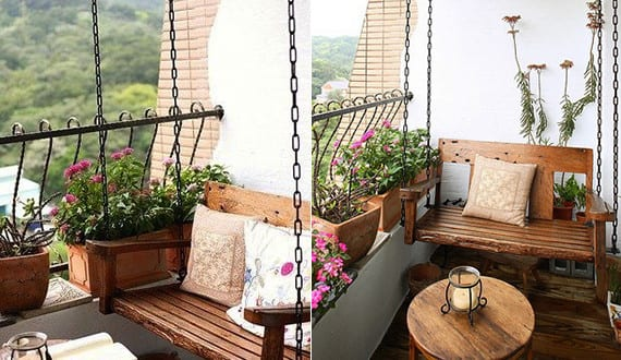 balkon gestaltungsideen unser kleines wohnzimmer im sommer mit schaukel freshouse. Black Bedroom Furniture Sets. Home Design Ideas