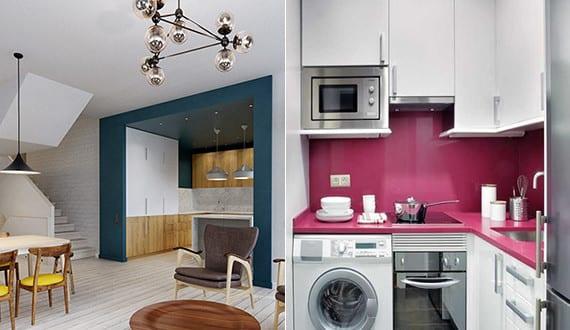 die komfortable wohnk che in der kleinen wohnung farbgestaltung k che mit wandfarbe blau und. Black Bedroom Furniture Sets. Home Design Ideas
