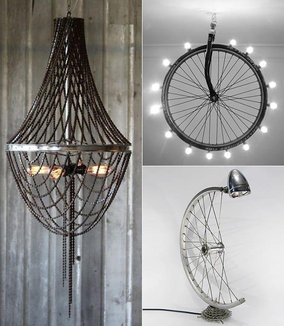 Recycling alter fahrradfelgen in form von diy lampen - Fahrradfelge basteln ...