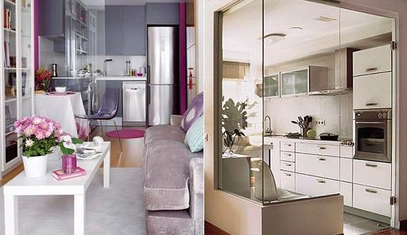 komfortable wohnkche in kleiner wohnung_kleine kche im wohnzimmer - Wohnzimmer Mit Glaswande