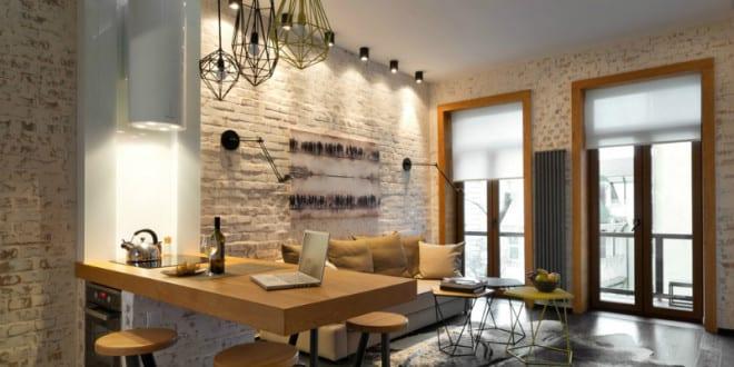 modernes innendesign und coole inspiration f r kleine wohnk che mit holztheke im wohnzimmer. Black Bedroom Furniture Sets. Home Design Ideas