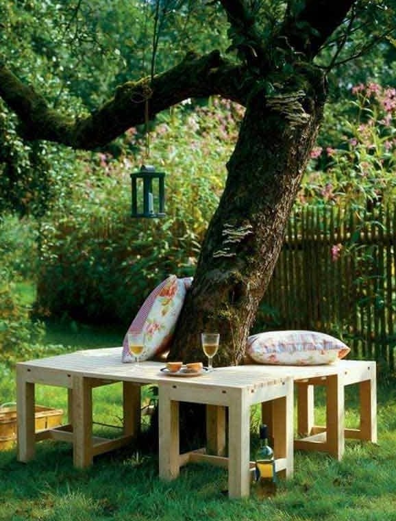 50 coole garten ideen f r gartenbank selber bauen um baum. Black Bedroom Furniture Sets. Home Design Ideas
