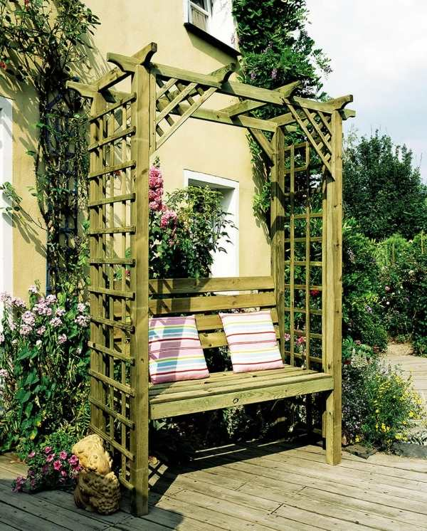 50 coole garten ideen f r pergola gartenbank selber bauen freshouse. Black Bedroom Furniture Sets. Home Design Ideas