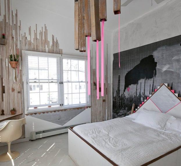 Attraktiv 12 Ideen Für Schlafzimmer Farben Und Originelles Schlafzimmer Design Mit  Holzlatten Und Grauen Dreecken