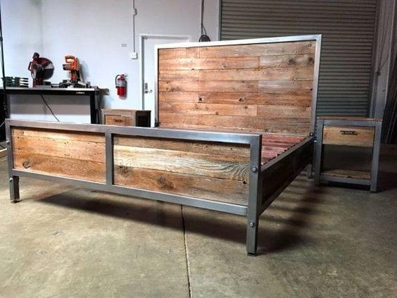 bett selber bauen f r ein individuelles schlafzimmer design diy bett aus holz und metallprofilen. Black Bedroom Furniture Sets. Home Design Ideas
