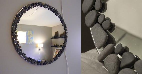 deko ideen mit steinen f r innen und au en spiegelrahmen basteln mit steinen freshouse. Black Bedroom Furniture Sets. Home Design Ideas