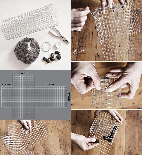 deko ideen mit steinen f r innen und au en teelichthalter selber basteln mit draht freshouse. Black Bedroom Furniture Sets. Home Design Ideas