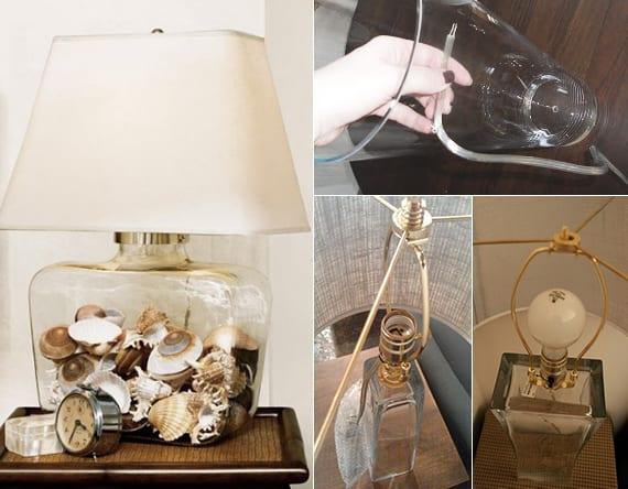 Bassteln Mit Muscheln Coole Tischlampe Aus Glasvase Selber Machen