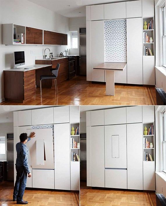 enge und kleine raeume einrichten mit modernem klapptisch platzsparende einrichtungsidee fuer 1. Black Bedroom Furniture Sets. Home Design Ideas