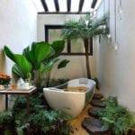 coole badezimmer ideen mit passenden badezimmerpflanzen für wellness-bad