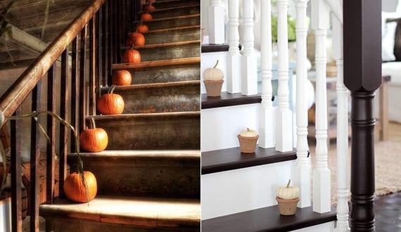 treppe dekorieren mit kuerbissen moderne herbst dekoideen. Black Bedroom Furniture Sets. Home Design Ideas