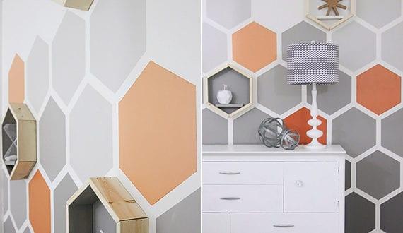 sechseck wandmuster ideen fuer eine tolle wandgestaltung im wohnzimmer freshouse. Black Bedroom Furniture Sets. Home Design Ideas