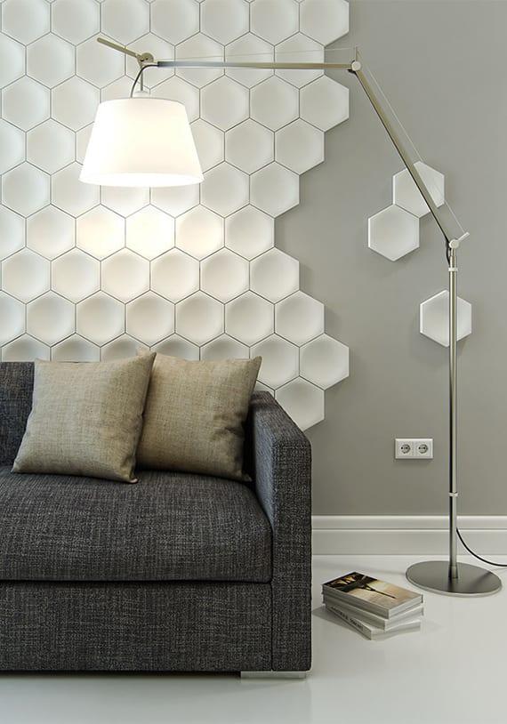 sechseck wandmuster ideen fuer eine tolle wandgestaltung mit 3d paneelen freshouse. Black Bedroom Furniture Sets. Home Design Ideas