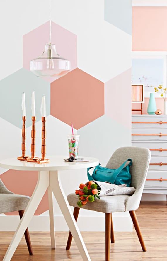 sechseck wandmuster ideen fuer eine tolle wandgestaltung mit pastellfarben in der kueche freshouse. Black Bedroom Furniture Sets. Home Design Ideas