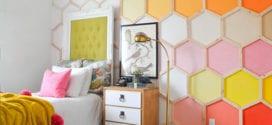 kreative wand streichen idee mit sechsecken in gelb, pink und orange
