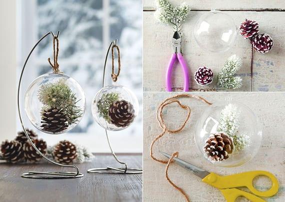 diy ideen fuer winterdeko mit nadelbaeume zapfen einfache bastelidee fuer diy weihnachtskugel. Black Bedroom Furniture Sets. Home Design Ideas