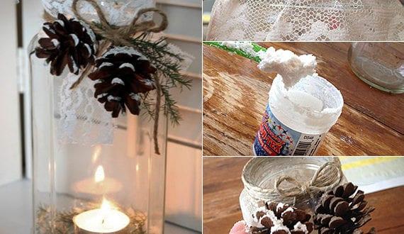 diy ideen fuer winterdeko mit nadelbaeume zapfen selbstgemachte winter kerzenhalter freshouse. Black Bedroom Furniture Sets. Home Design Ideas