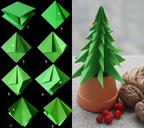 anleitung zum tannenbaum falten aus papier diy origami tannenbaum freshouse. Black Bedroom Furniture Sets. Home Design Ideas