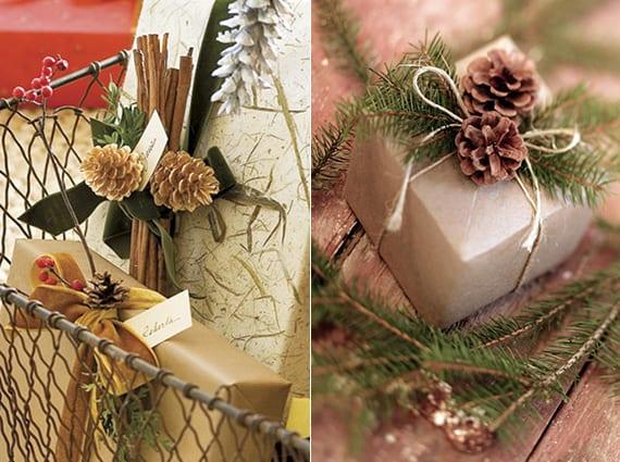 coole diy ideen fuer winterdeko mit nadelbaeume zapfen weihnachtsgeschenke kreativ verpacken mit. Black Bedroom Furniture Sets. Home Design Ideas