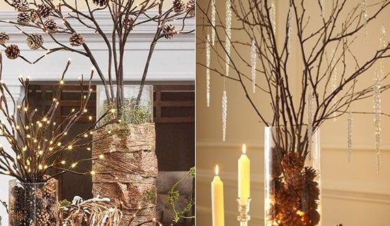 Alternative Zum Weihnachtsbaum coole diy ideen fuer winterdeko mit nadelbaeume zapfen coole