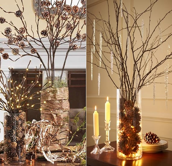 coole diy ideen fuer winterdeko mit nadelbaeume zapfen coole weihnachtsbaum alternative mit. Black Bedroom Furniture Sets. Home Design Ideas