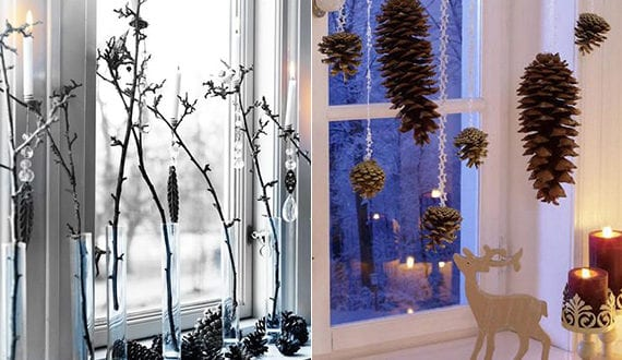 coole diy ideen fuer winterdeko mit nadelbaeume zapfen fensterbank dekorieren zu weihnachten. Black Bedroom Furniture Sets. Home Design Ideas