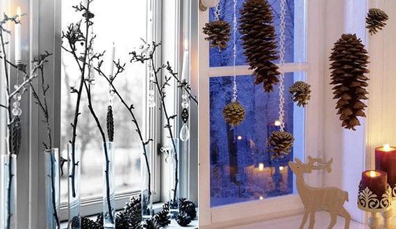 coole diy ideen fuer winterdeko mit nadelbaeume zapfen fensterbank dekorieren zu weihnachten. Black Bedroom Furniture Sets. Home Design Ideas