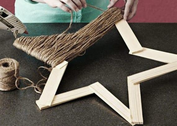 Attraktiv Stern Aus Holz Basteln Und Mit Bindfaden Gestalten_coole