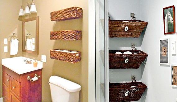 bad in ordnung halten durch diy wandregale aus weidenkoerben freshouse. Black Bedroom Furniture Sets. Home Design Ideas