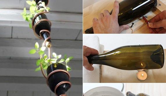 inspirierende bastel und upcycling ideen mit weinflaschen fuer diy haengegarten freshouse. Black Bedroom Furniture Sets. Home Design Ideas