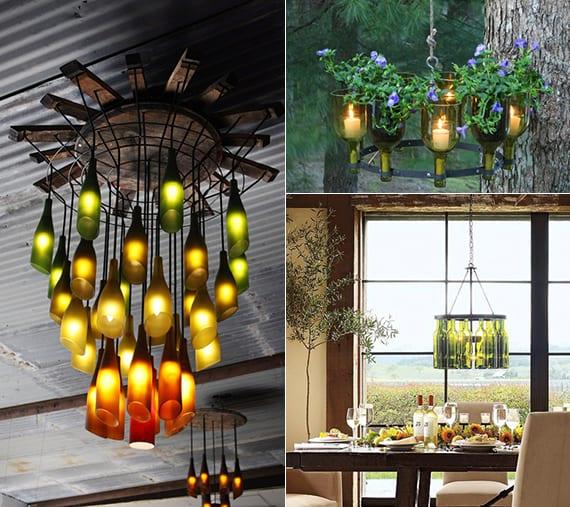 inspirierende bastel und upcycling ideen mit weinflaschen fuer diy kronenleuchter freshouse. Black Bedroom Furniture Sets. Home Design Ideas