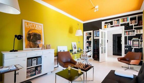moderne wohnung im zeitgeist der 60er jahren moderne farbgestaltung wohnzimmer mit wandfarbe. Black Bedroom Furniture Sets. Home Design Ideas