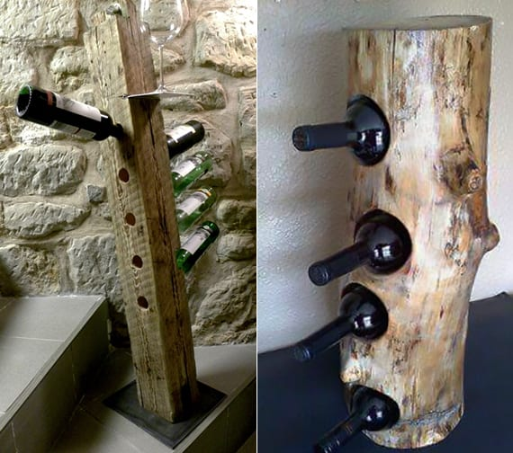 so einfach kann man ein eigenes weinregal selber bauen aus holzklotz und rundholz freshouse. Black Bedroom Furniture Sets. Home Design Ideas