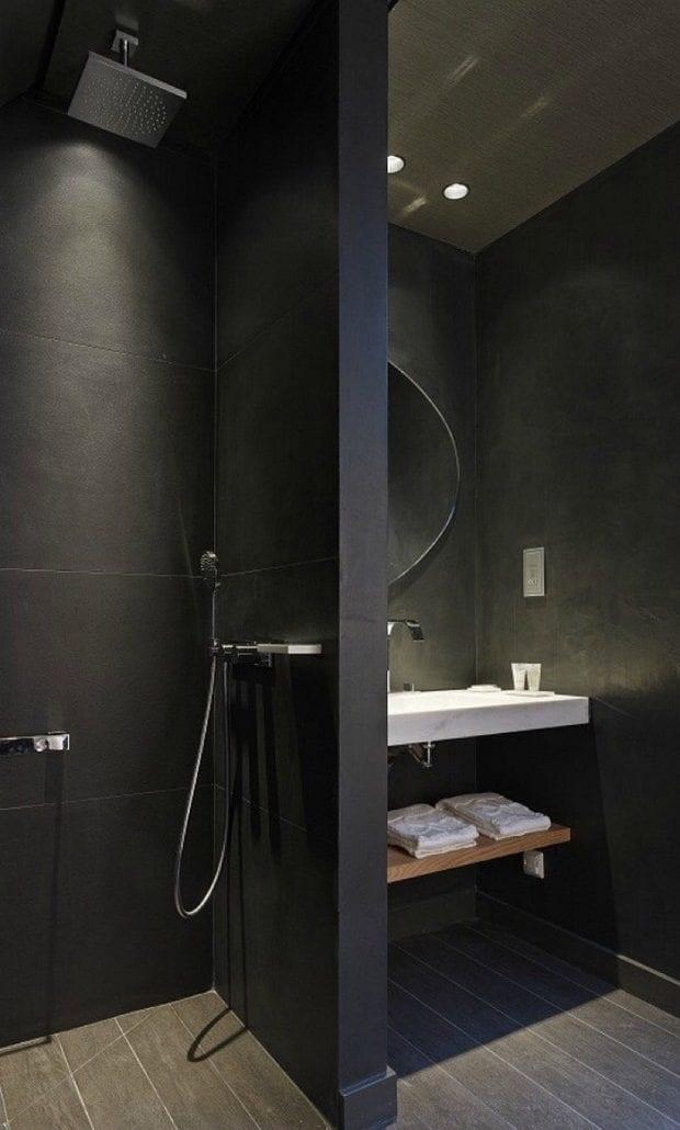Stilvolle Und Mutige Badgestaltung In Schwarz Fur Kleine Bader