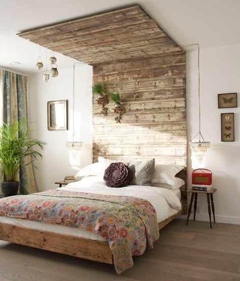 Wandgestaltung Ideen mit Paletten für schlafzimmer in shabby chic ...
