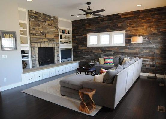 Wandgestaltung Ideen mit Paletten für wohnzimmergestaltung in grau ...