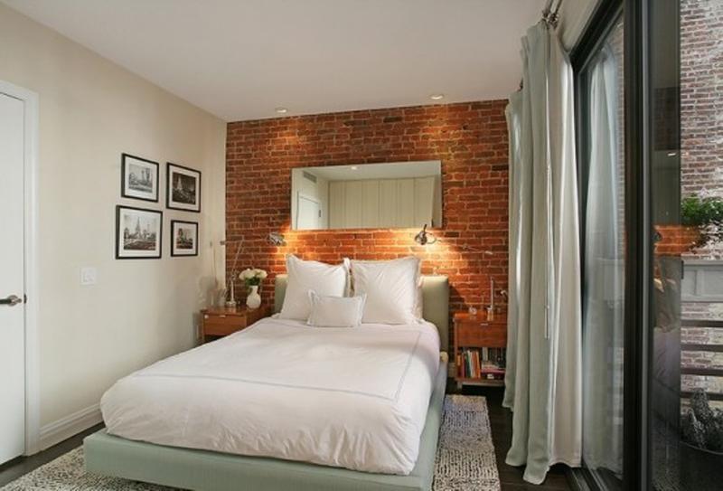 dekoideen für die ziegelwand im Schlafzimmer_kleines schlafzimmer ...