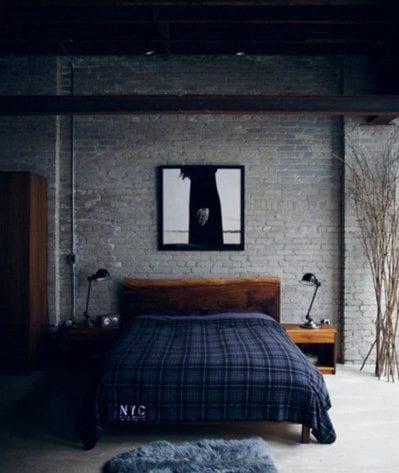 moderne dekoideen f r die ziegelwand im schlafzimmer. Black Bedroom Furniture Sets. Home Design Ideas