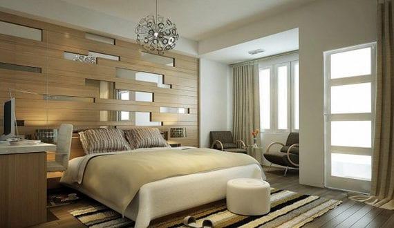 Schlafzimmer Gestalten Mit Spiegel Bett Kopfteil_moderne Wandgestaltung Für