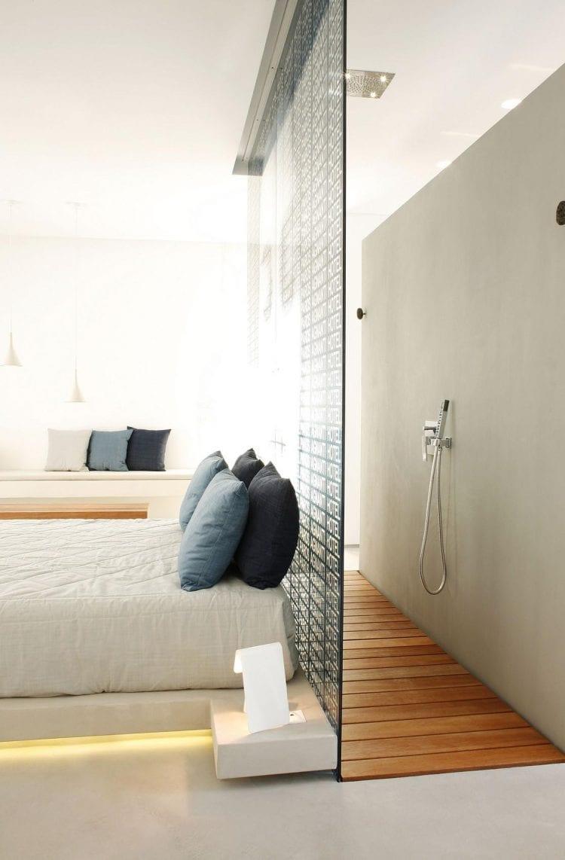 Wohnideen Schlafzimmer - den Platz hinterm Bett mit einer Dusche ...