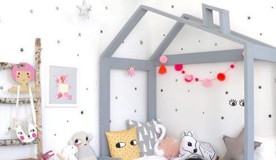 Ein reizendes kinder und babyzimmer gestalten mit modernem kinderbett in form vom haus freshouse - Kinderbett gestalten ...