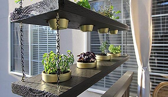 Balkon modern gestalten und dekorieren mit diy hängegarten