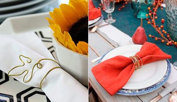 coole servietten falten ideen mit draht f r kreative tischdekoration herbst freshouse. Black Bedroom Furniture Sets. Home Design Ideas