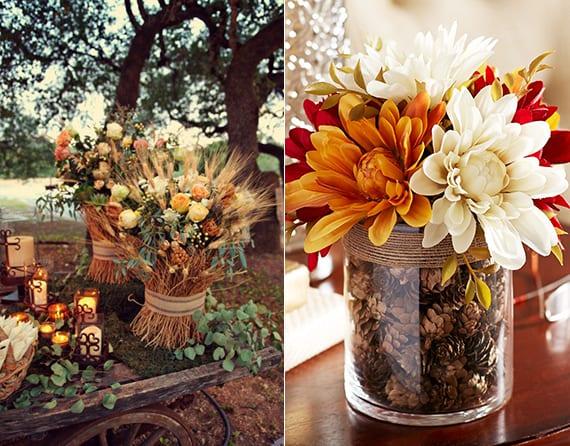 Fantastische Dekoideen Herbst Mit Frischen Blumen Weißen Und Zapfen