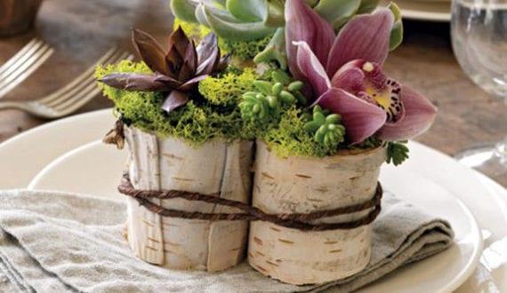Rustikale tischdeko herbst mit kleinen diy vasen aus birke for Rustikale tischdeko