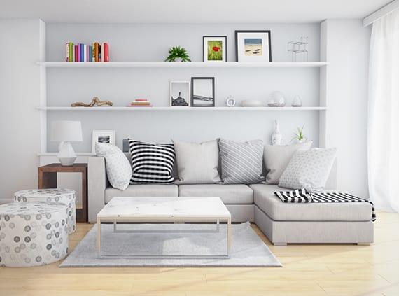Funktinale Wandgestaltung Mit Einbauregalen Hinter Sofa Im Kleinen