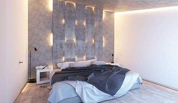 Interessantes Lichtdesign Schlafzimmer  Mit Akzentwand Aus Indirekter Beleuchtung