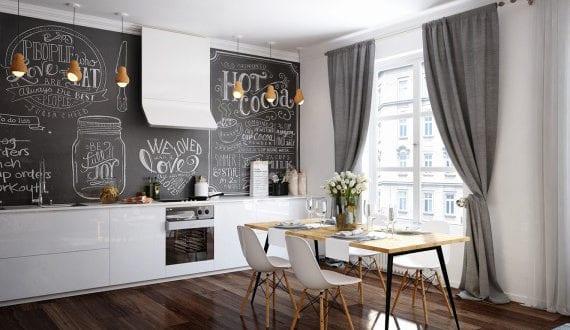 kreative esszimmer ideen f r offene k che mit essbereich und schwarzer tafelwand freshouse. Black Bedroom Furniture Sets. Home Design Ideas