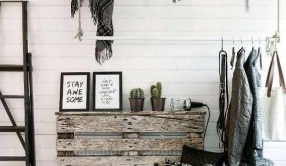 kreative gestaltung flur im skandinavischen stil mit diy heizk rperverkleidung aus paletten und. Black Bedroom Furniture Sets. Home Design Ideas